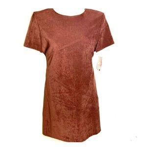 NWT Sz 16 Brown Faux Suede SS Geometric Seam Dress